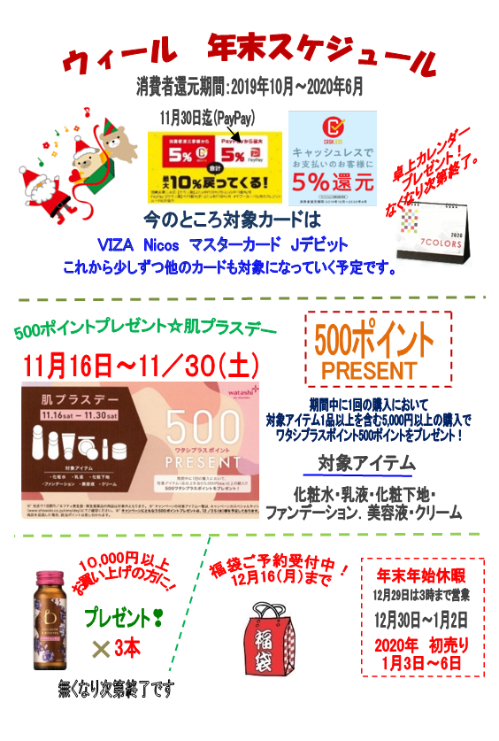 ウィール 年末スケジュール  500ポイントプレゼント☆肌プラスデー
